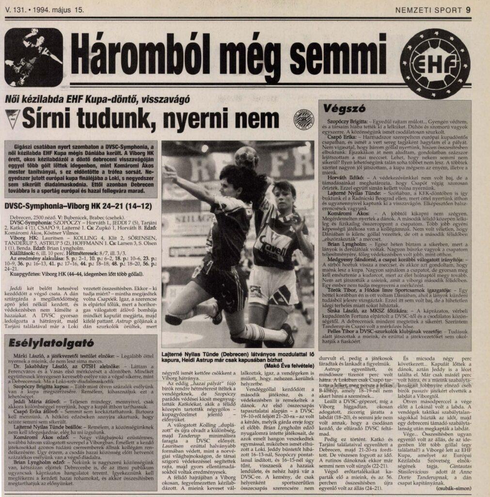 Nemzeti Sport cikke a mérkőzésről
