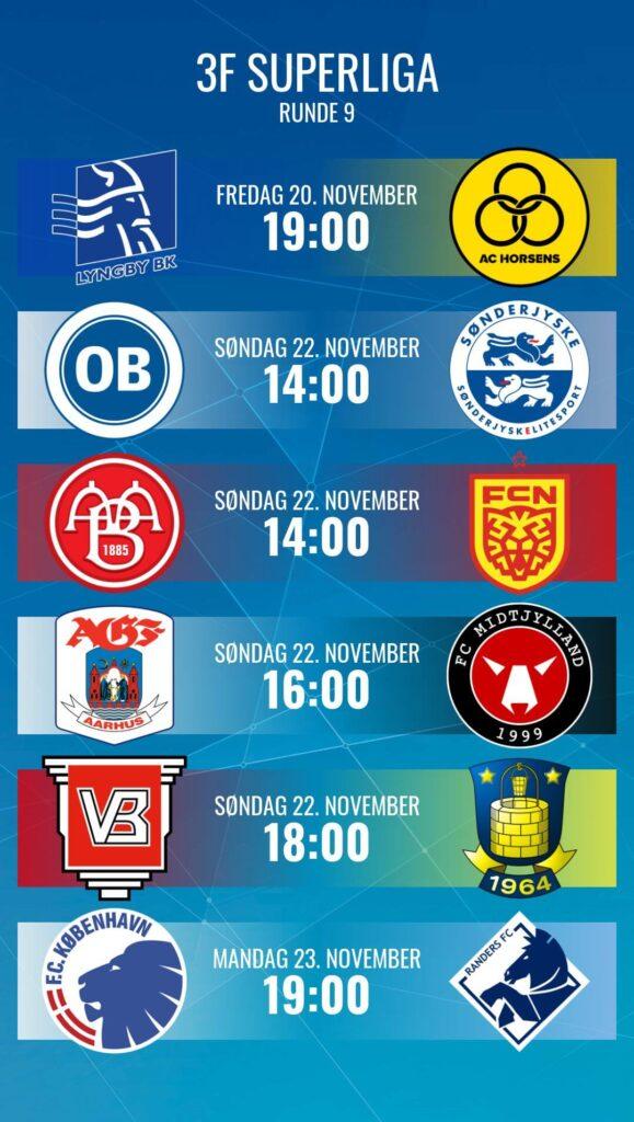9. forduló párosítása. Fotó: Superliga.dk