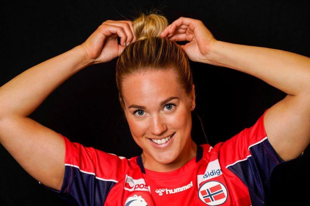 Malin Aune a norvég válogatott mezében. Fotó: Lise Åserud, NTB