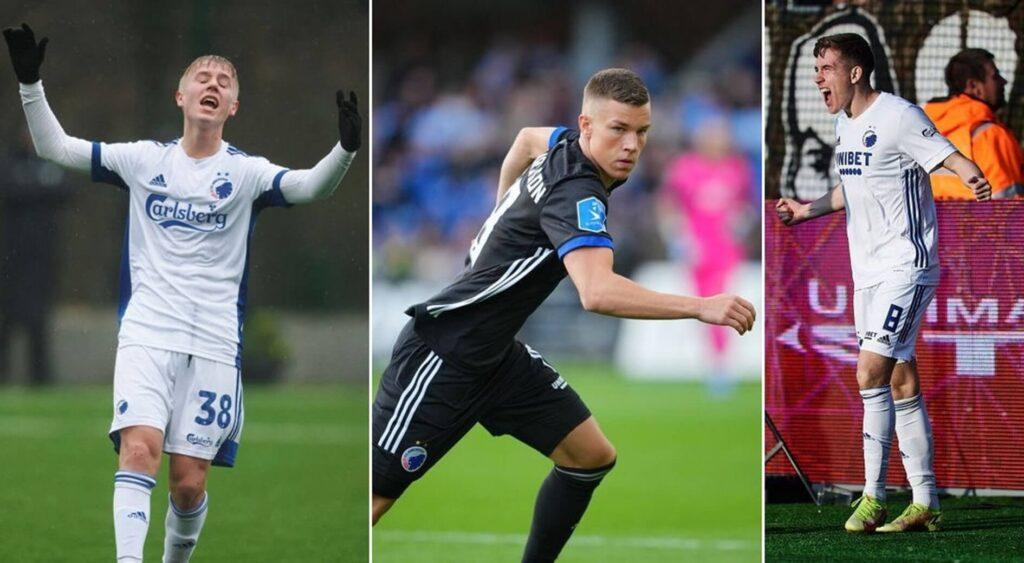 Hákon Arnar Haraldsson, Andri Fannar Baldursson és Ísak Bergmann Jóhannesson a FC Koppenhága mezében.